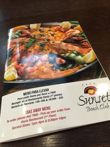 Menú de comida para llevar - Hotel Sunset Beach Club