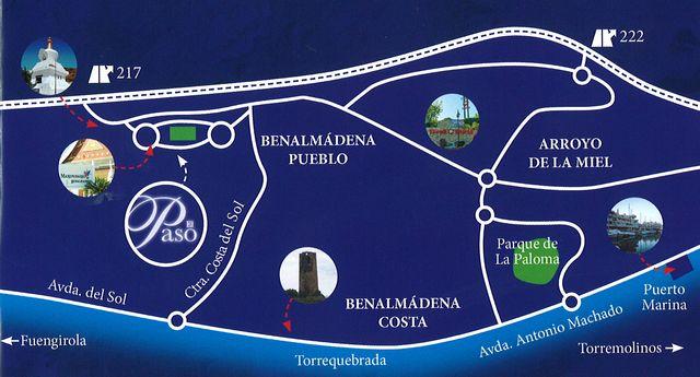 Mapa para llegar al parque retamar en Benalmádena Pueblo