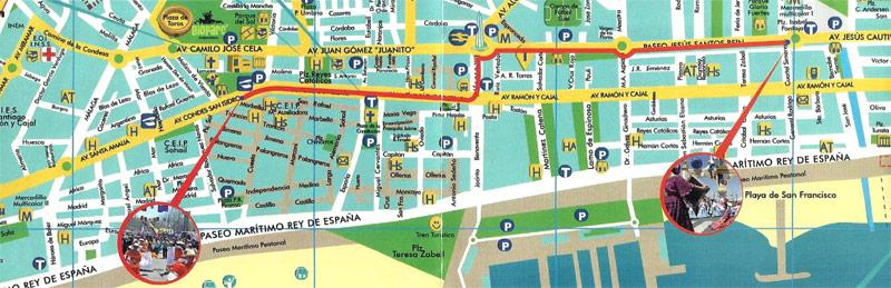 Ruta del Pasacalles de la Feria Internacional de los Pueblos de Fuengirola