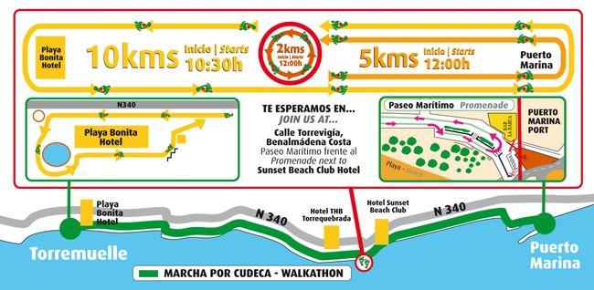 Mapa del walkathon de cudeca