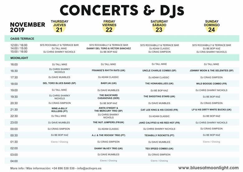 Conciertos y Dj's en Blues at Moonlight 2019