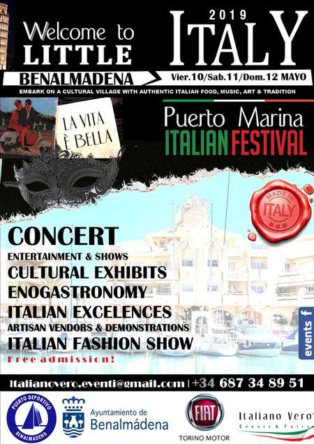 Cartel evento Little Italy en Puerto Deportivo de Benalmadena
