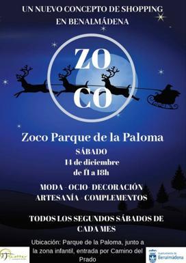 Cartel del zoco navideño en Parque de la Paloma