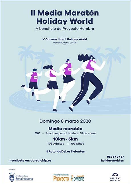 Cartel Media Maratón y Carrera Litoral Benalmadena 2020